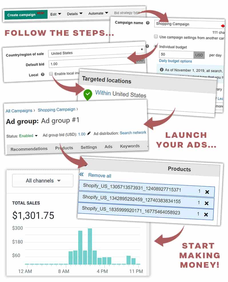 set up steps sales page